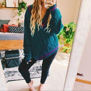 Retro hippie eclectic v neck varsity sweater p8